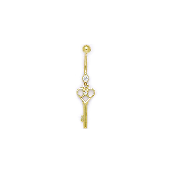 Solid 14KT Yellow Gold Cubic Zirconia SKELETON KEY Belly Ring