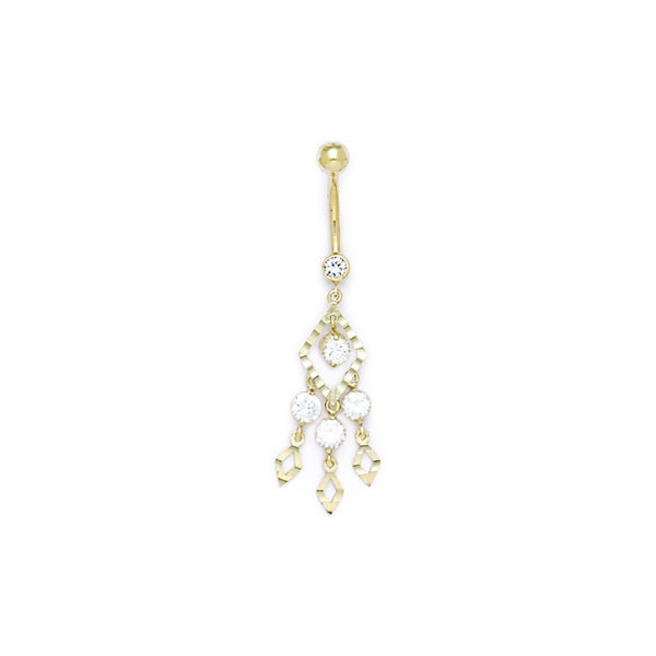 Solid 14kt Yellow Gold Expressions Chandelier Belly Ring