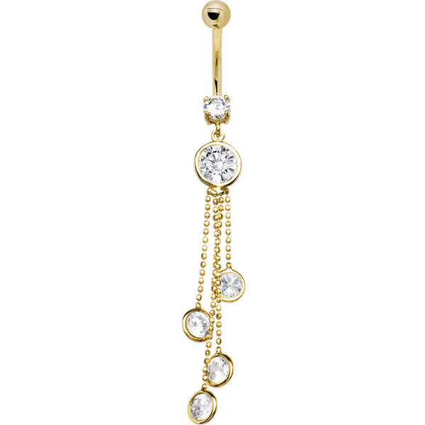 Solid 14kt Yellow Gold Stylish Zirconia Drop Belly Ring