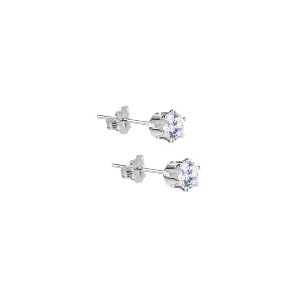Sterling Silver 1.90 ct Cubic Zirconia Round Stud Earrings