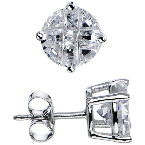 Sterling Silver 1.90 ct 9-Segment Cubic Zirconia Stud Earrings