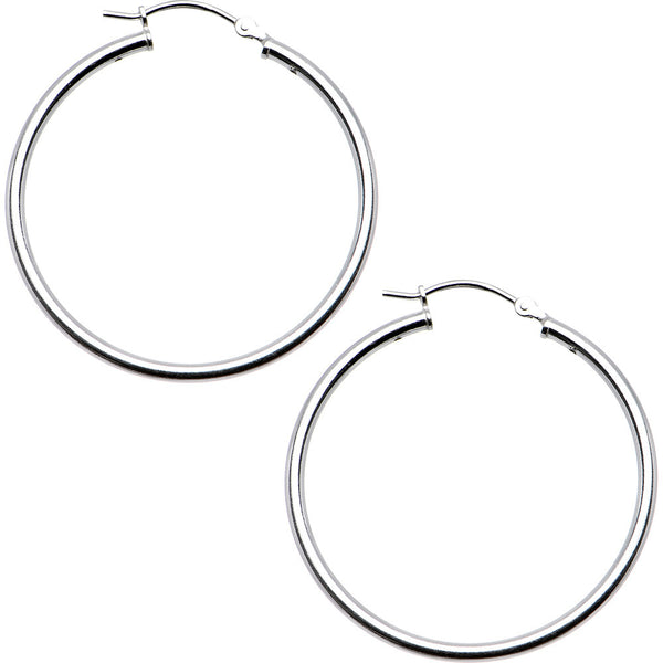 925 Sterling Silver 1 1/4 Inch Hoop Earrings