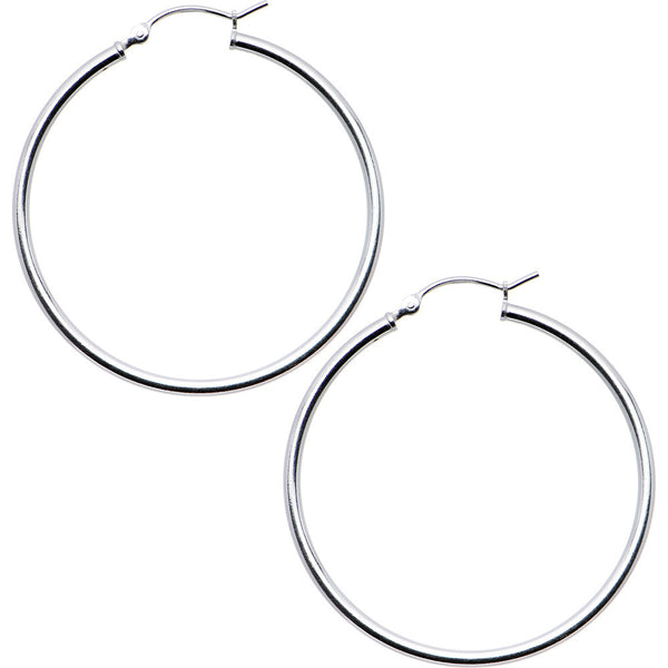 925 Sterling Silver 1 1/2 Inch Hoop Earrings
