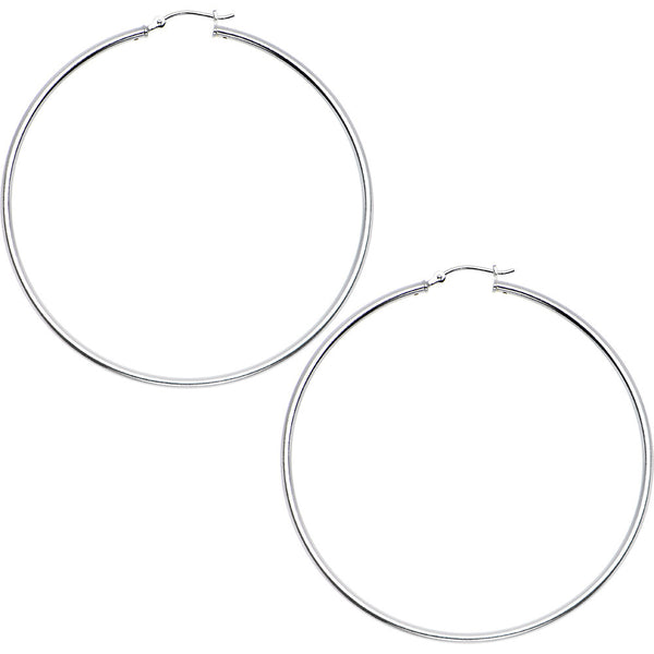 925 Sterling Silver 2 Inch Hoop Earrings