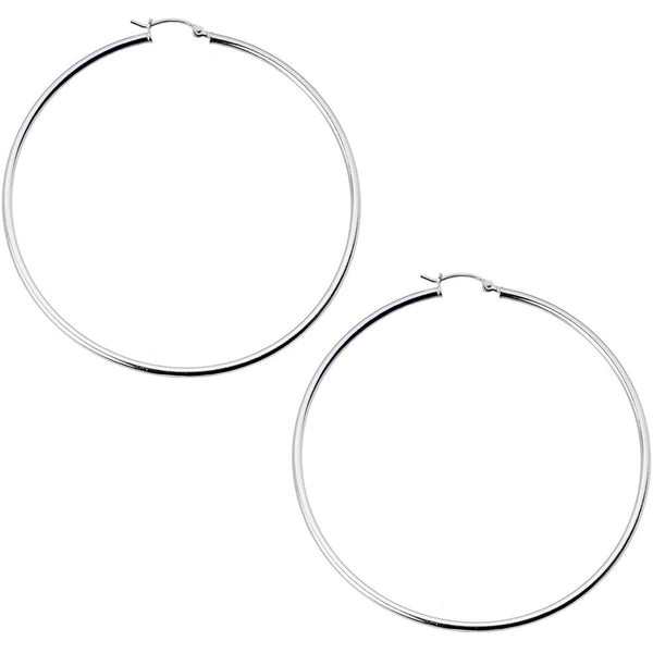 925 Sterling Silver 2 1/2 Inch Hoop Earrings