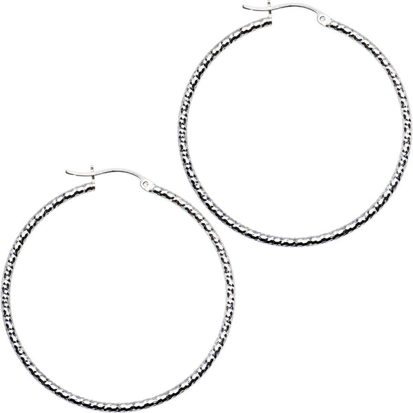 925 Sterling Silver 1 3/4 Inch Diamond Cut Hoop Earrings