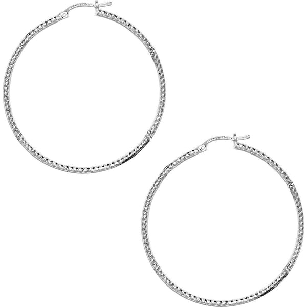 925 Sterling Silver 2 Inch Diamond Cut Hoop Earrings