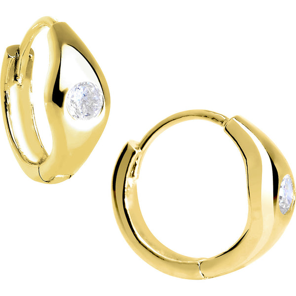 14kt Yellow Gold CZ Solitaire Huggy Earrings