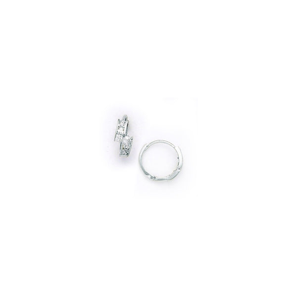 14kt White Gold CZ Square Huggy Earrings
