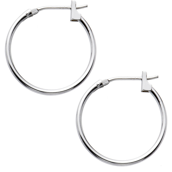 14KT White Gold 1.5mm 11/16 Inch Hoop Earrings