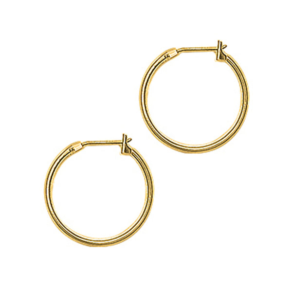 14KT Yellow Gold 1.5mm 11/16 Inch Hoop Earrings