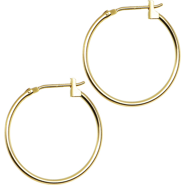 14KT Yellow Gold 1.5mm 3/4 Inch Hoop Earrings