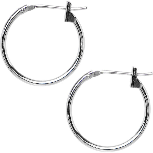 14KT White Gold 1.5mm 5/8 Inch Hoop Earrings