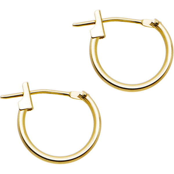 14KT Yellow Gold 1.5mm 1/2 Inch Hoop Earrings