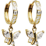 14kt Yellow Gold Clear CZ Butterfly Huggy Earrings