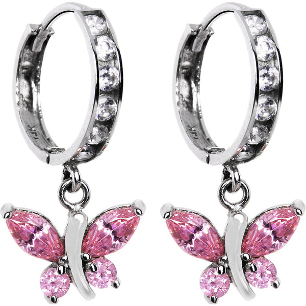 14kt White Gold Light Pink CZ Butterfly Huggy Earrings