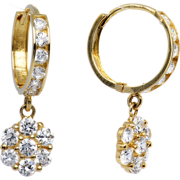 14K Yellow Gold CZ Flower Huggy Earrings 8mm