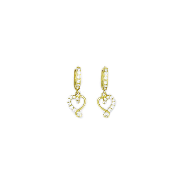 14kt Yellow Gold CZ Jeweled Heart Huggy Earrings