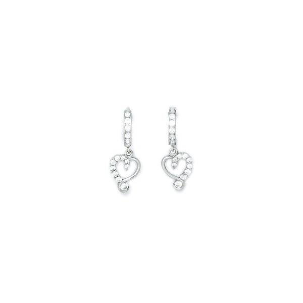 14kt White Gold CZ Jeweled Heart Huggy Earrings