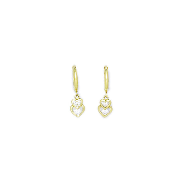 14kt Yellow Gold CZ Heart Duet Huggy Earrings