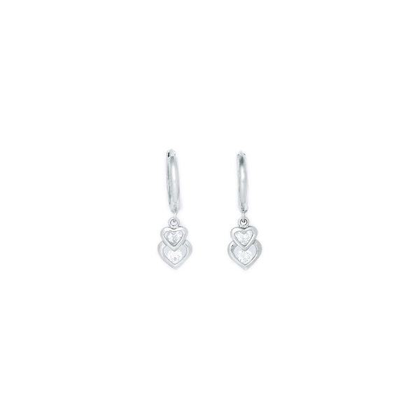 14kt White Gold CZ  Heart Duet Huggy Earrings