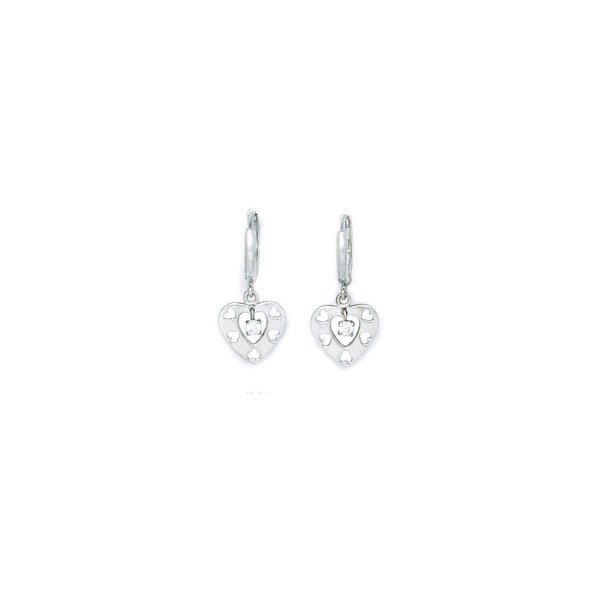 14kt White Gold CZ  Cutout Heart Huggy Earrings