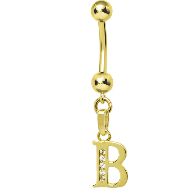 Solid 14kt Yellow Gold CZ Initial B Belly Ring