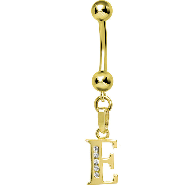 Solid 14kt Yellow Gold CZ Initial E Belly Ring