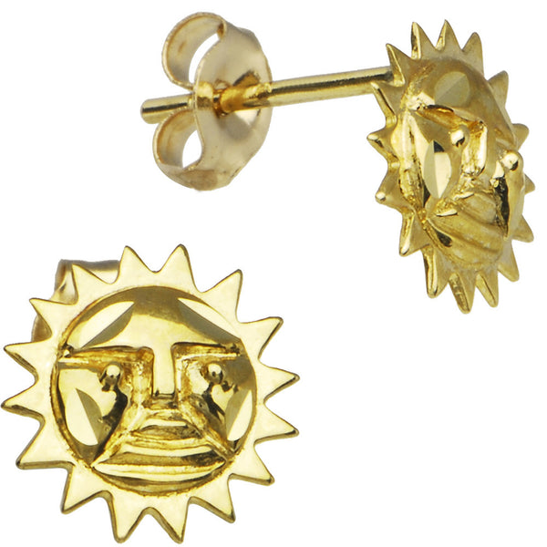 14kt Yellow Gold Sunglass Sun Stud Earrings