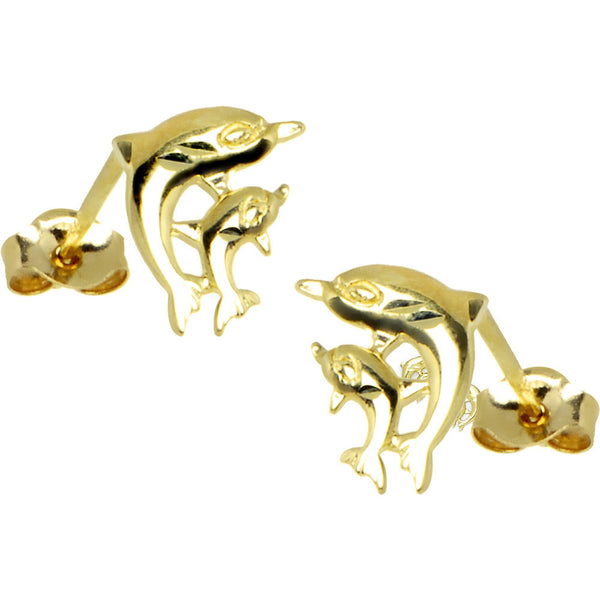 14kt Yellow Gold Family Dolphin Stud Earrings