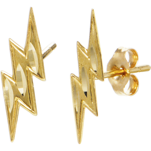 14kt Yellow Gold Lightning Bolt Stud Earrings Bodycandy