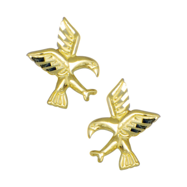 14kt Yellow Gold Flying Birds Stud Earrings