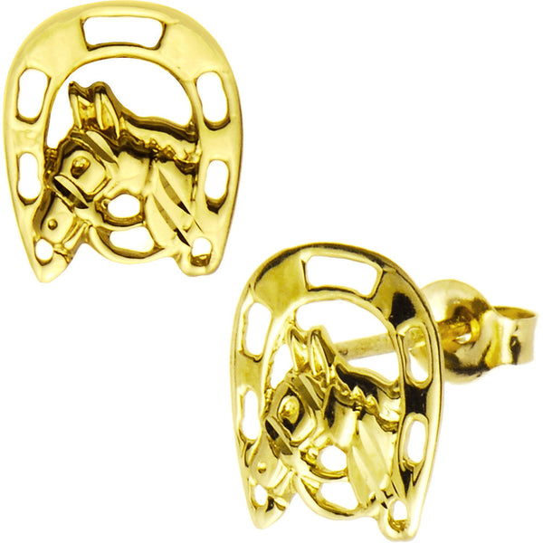 14kt Yellow Gold Horseshoe Horse Stud Earrings