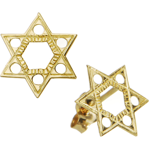 14kt Yellow Gold Jewish Star of David Stud Earrings
