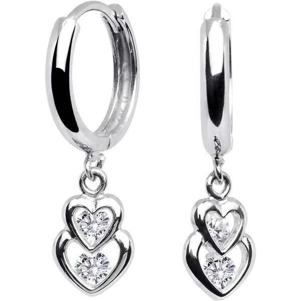 Sterling Silver CZ Heart Duet Huggy Earrings