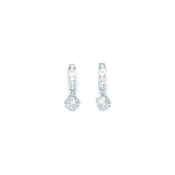 Sterling Silver 2mm CZ Cube Huggy Earrings