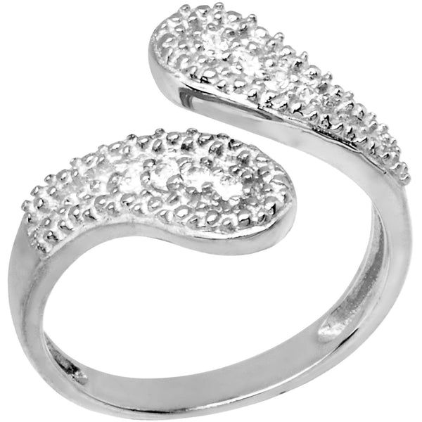 10K White Gold Cubic Zirconia Wrap Toe Ring