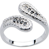 14kt White Gold Black Cubic Zirconia Wrap Toe Ring