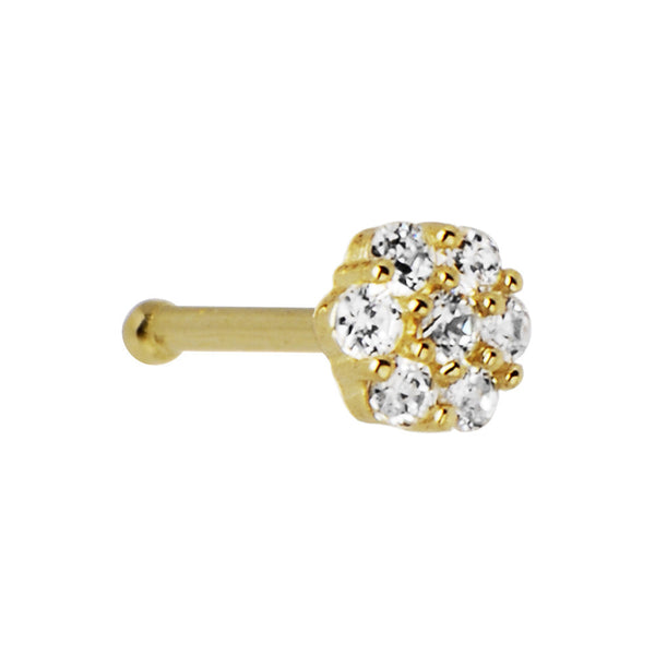 Solid 14KT Yellow Gold Clear CZ Flower Nose Bone