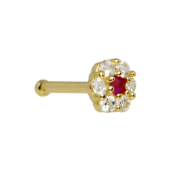 Solid 14KT Yellow Gold Clear Red CZ Flower Nose Bone