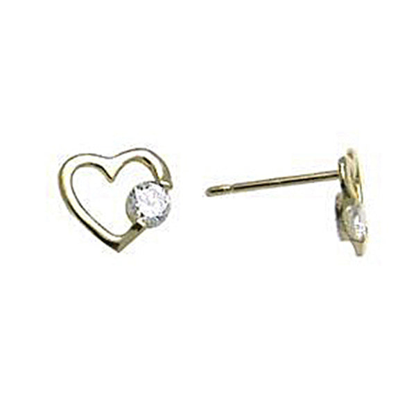 14kt Yellow Gold CZ Hollow Heart Stud Earrings 7mm