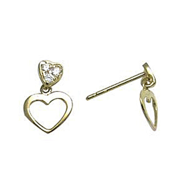 14kt Yellow Gold CZ Dangle Heart Stud Earrings