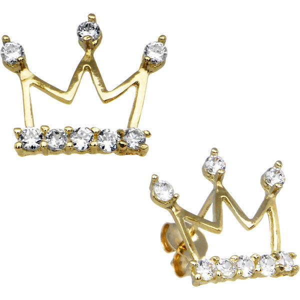14kt Yellow Gold Cubic Zirconia Crown Stud Earrings