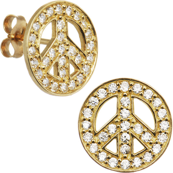 14kt Yellow Gold CZ Paved Peace Sign Stud Earrings