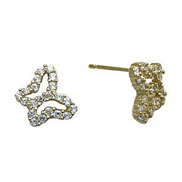 14kt Yellow Gold CZ Hollow Butterfly Stud Earrings