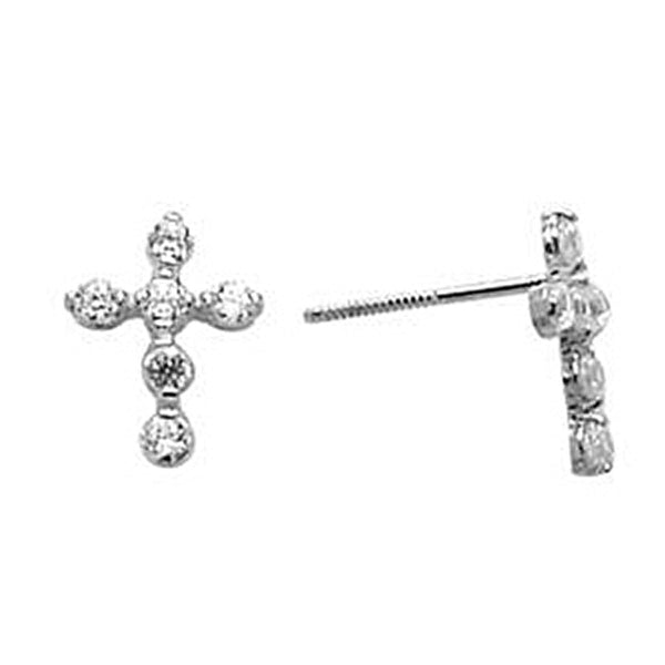 14kt White Gold Cubic Zirconia Cross Stud Earrings