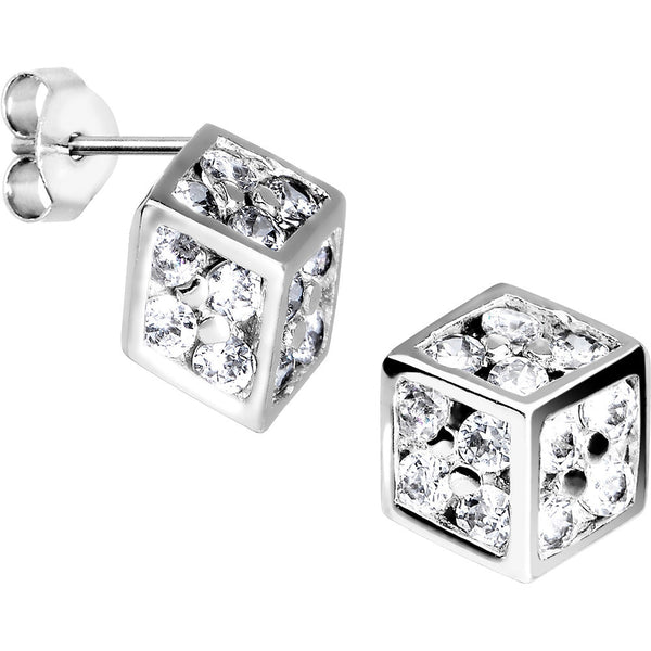 14kt White Gold CZ 7mm Dice Stud Earrings