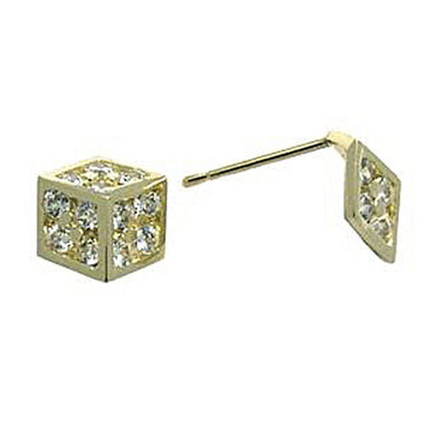 14kt Yellow Gold CZ 7mm Dice Stud Earrings