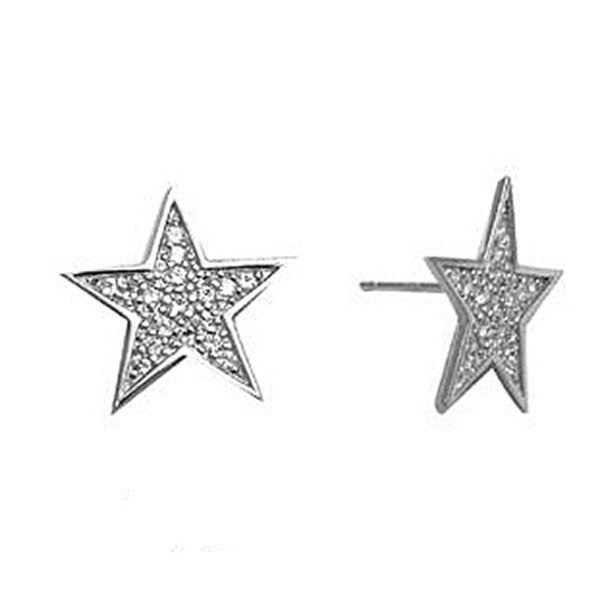 14kt White Gold 15mm CZ Paved Star Stud Earrings