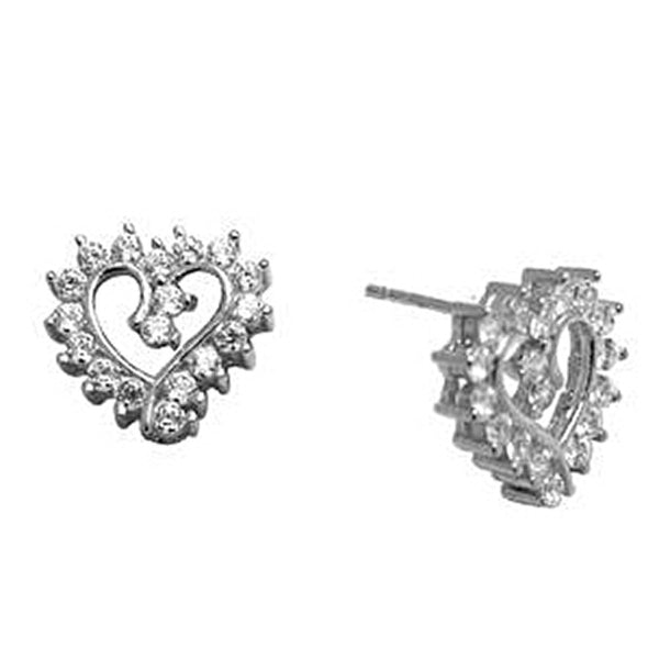 14K White Gold CZ Hollow Heart Stud Earrings 10mm